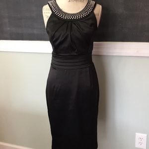White House Black Market Faux Pearl Black Dress 8